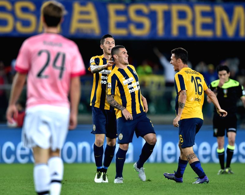 VERONA, May 9, 2016 - Federico Viviani (C) of Verona celebrates his goal during the Italian Serie A football match against Juventus in Verona, Italy, May 8, 2016.