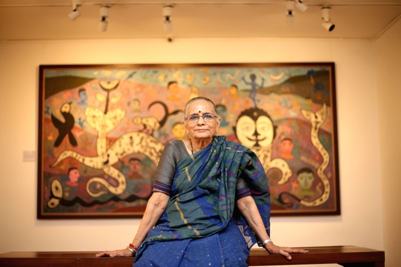 Veteran artist Madhavi Parekh with her artwork. - Madhavi Parekh