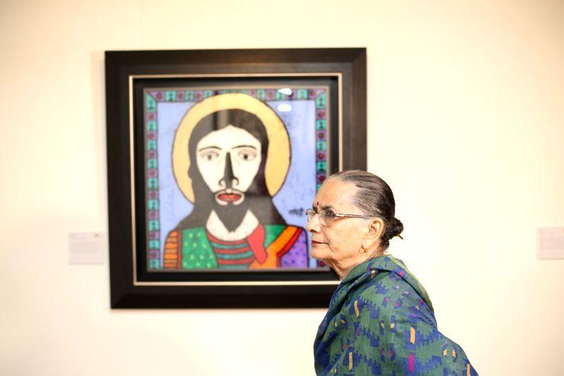 Veteran artist Madhavi Parekh with her artwork on Jesus Christ. - Madhavi Parekh