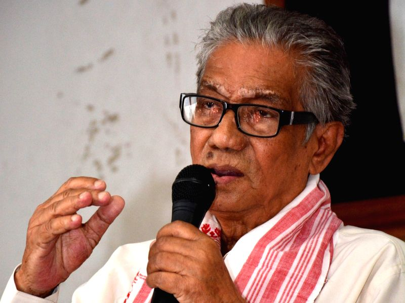 Veteran Assamese actor Abdul Mazid delivering speech at ``Guest of the Month`` function organised by the Guwahati press club in Guwahati on June 16, 2014.