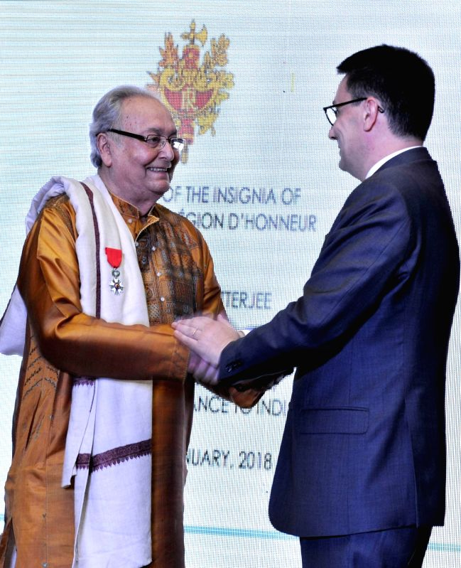 Veteran Bengali actor Soumitra Chatterjee receives the Legion of Honour (Chevalier de la Légion d'Honneur), the highest French civilian award  for his contribution to cinema from Ambassador ... - Soumitra Chatterjee
