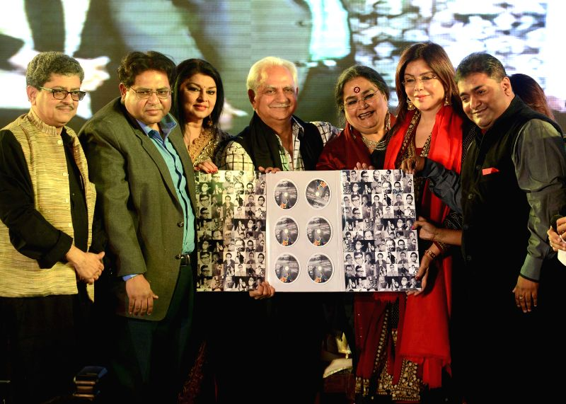 Veteran filmmaker Ramesh Sippy, actress Zeenat Aman and others at the launch of singer Usha Uthup's music album during the inauguration of Second Edition of Kolkata Literature Festival in Kolkata, on - Zeenat Aman