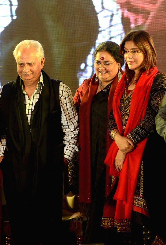Veteran filmmaker Ramesh Sippy and actress Zeenat Aman at the launch of singer Usha Uthup's music album during the inauguration of Second Edition of Kolkata Literature Festival in Kolkata, on Feb 6, . - Zeenat Aman