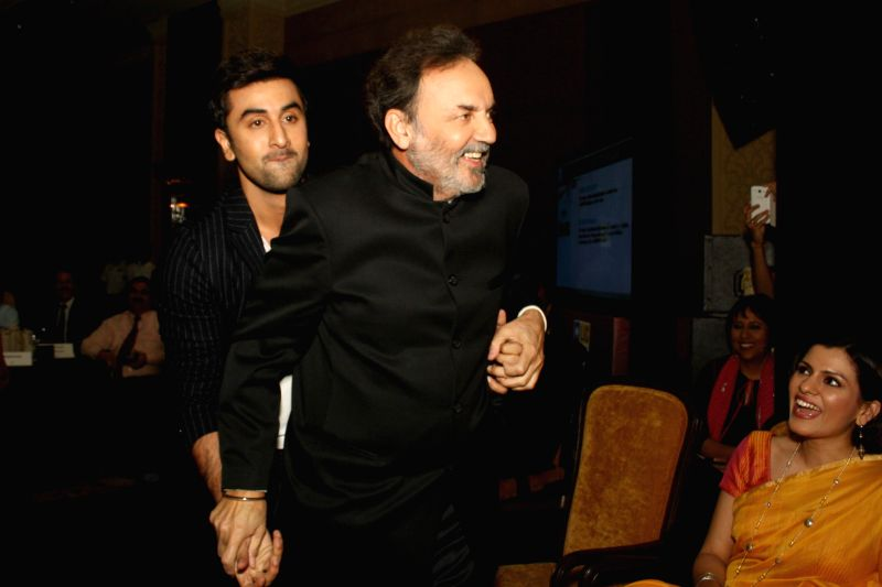 Veteran journalist and co-founder and executive co-chairperson of New Delhi Television Prannoy Roy with actor Ranbir Kapoor during NDTV Indian of the Year Awards function in New Delhi on April 29, ... - Ranbir Kapoor