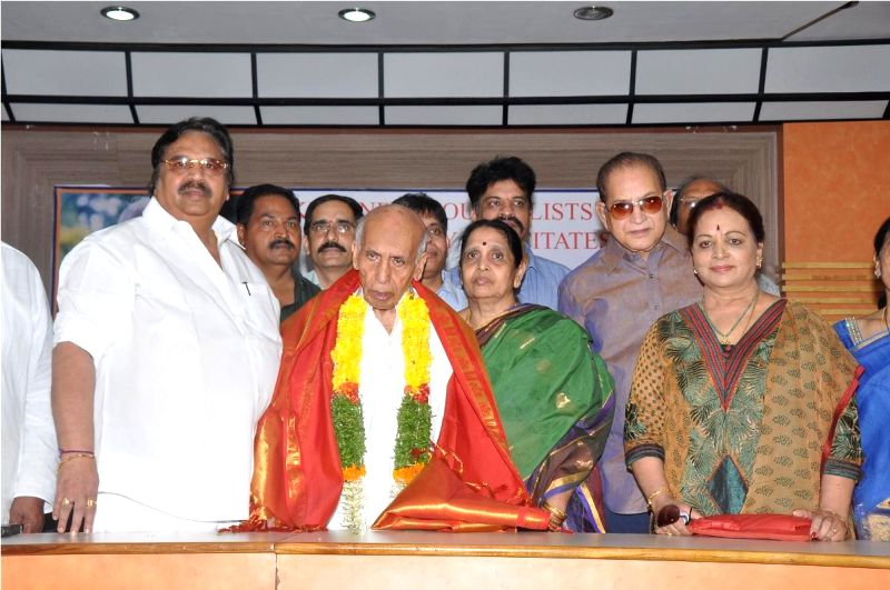 Veteran Movie Journalist Nandagopal being felicitated by 'Likeminded Journalist  Forum' at Film Chamber Hall in Hyderabad on April 23, 2014.