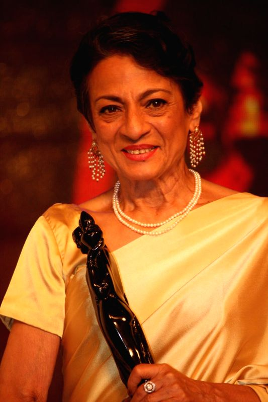 Vetran actress Tanuja during the Raj Kapoor Awards ceremony in Mumbai, on August 12, 2014. Tanuja was awarded with the life time achievement award.