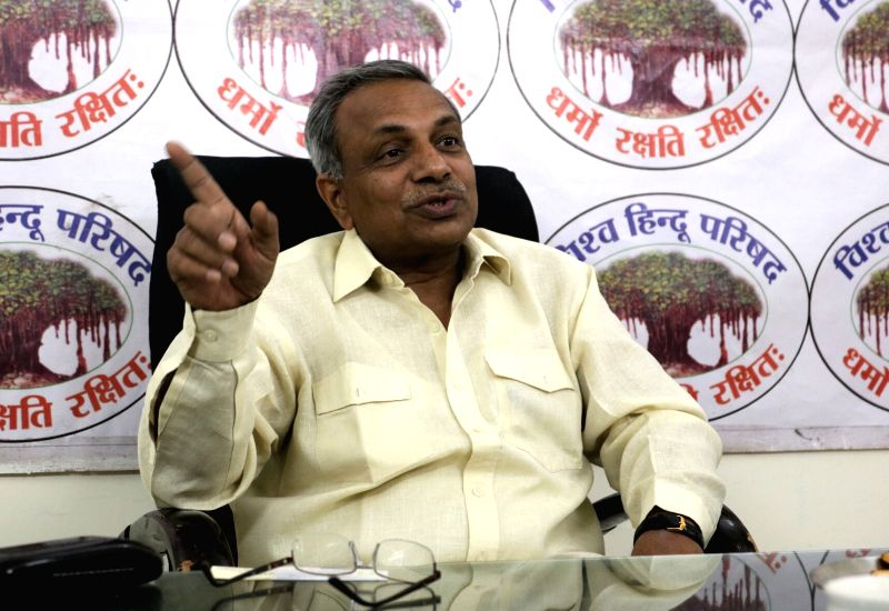 VHP leader Surendra Jain addresses a press conference in New Delhi on June 9, 2017. - Surendra Jain