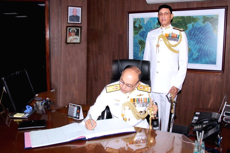 Vice Admiral Anil Kumar Chawla takes charge as the Southern Naval Command's 28th Flag Officer Commanding- in-Chief, in New Delhi on July 31, 2018.
