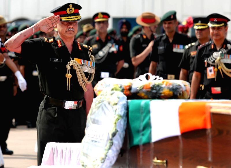 Vice Chief of the Army Staff, Lt Gen D. Anbu pays homage to Major Kaustubh P. Rane, Vikramjit Singh, Mandip Singh and Hameer Singh, the four Army men who were killed in Tuesday's encounter ... - Vikramjit Singh, Mandip Singh and Hameer Singh