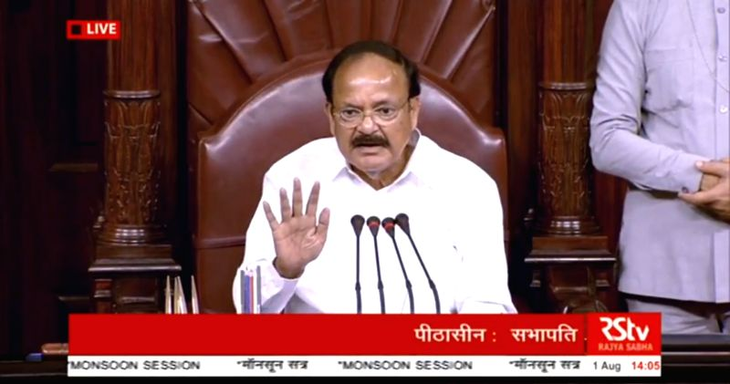 Vice President and Rajya Sabha Chairman M. Venkaiah Naidu chairs the Question Hour at Rajya Sabha during the Monsoon Session of Parliament, in New Delhi on Aug 1, 2018. - M. Venkaiah Naidu