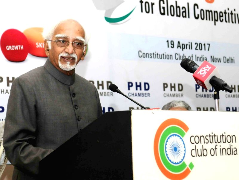 Vice President M. Hamid Ansari addresses at the National Conference on 'Skilling India for Global Competiveness', in New Delhi on April 19, 2017.