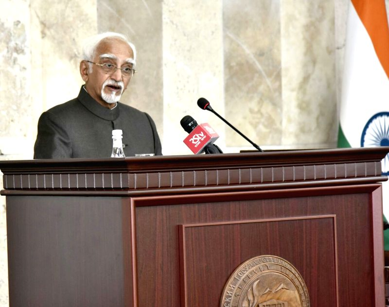 Vice President M Hamid Ansari addresses at the Yerevan State University in Yerevan, Armenia on April 26, 2017.
