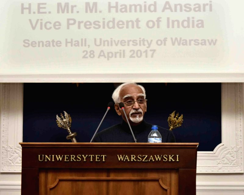 Vice President M Hamid Ansari addresses at the University of Warsaw, in Warsaw, Poland on April 28, 2017.