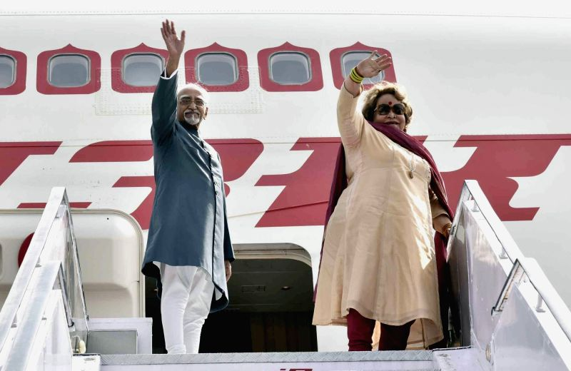 Vice President M Hamid Ansari and Salma Ansari emplane for a five-day visit to Armenia and Poland, in New Delhi on April 24, 2017.