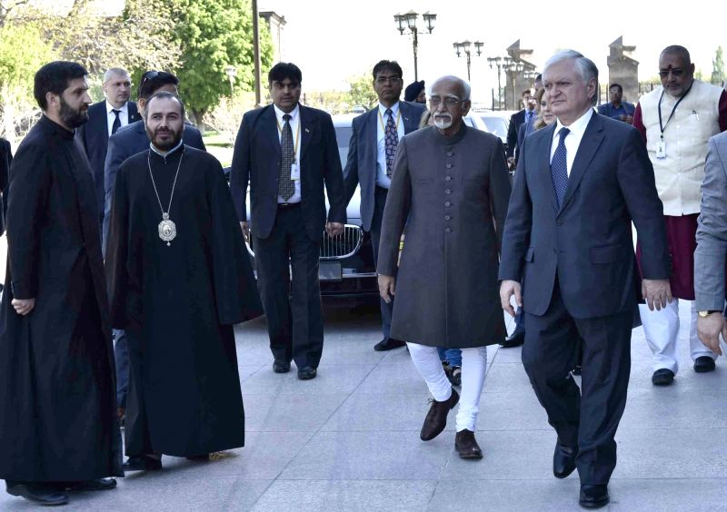 Vice President M. Hamid Ansari arrives at the Mother See of Holy Etchmiadzin, in Yerevan, Armenia on April 26, 2017.