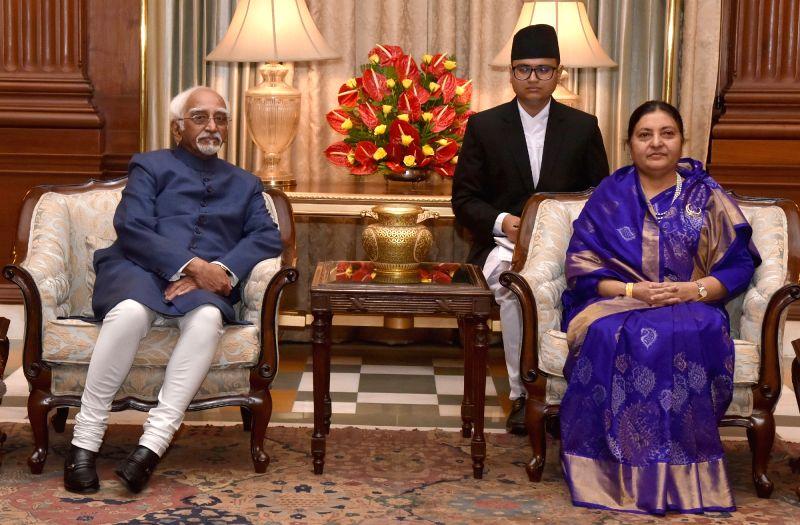 Vice President M Hamid Ansari calls on Nepal President Bidya Devi Bhandari in New Delhi on April 18, 2017.