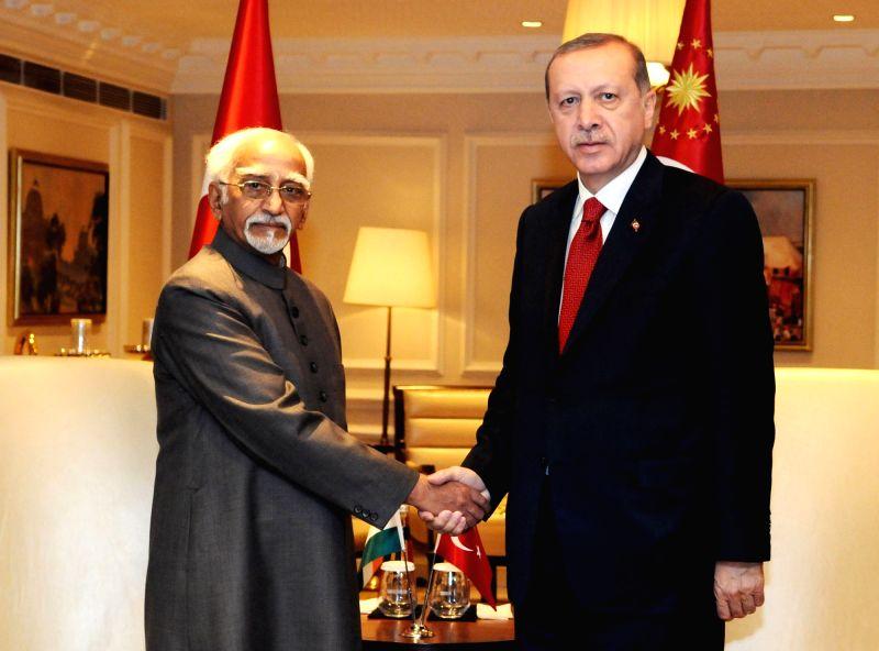 Vice President M Hamid Ansari calls on Turkish President Recep Tayyip Erdogan in New Delhi on May 1, 2017.