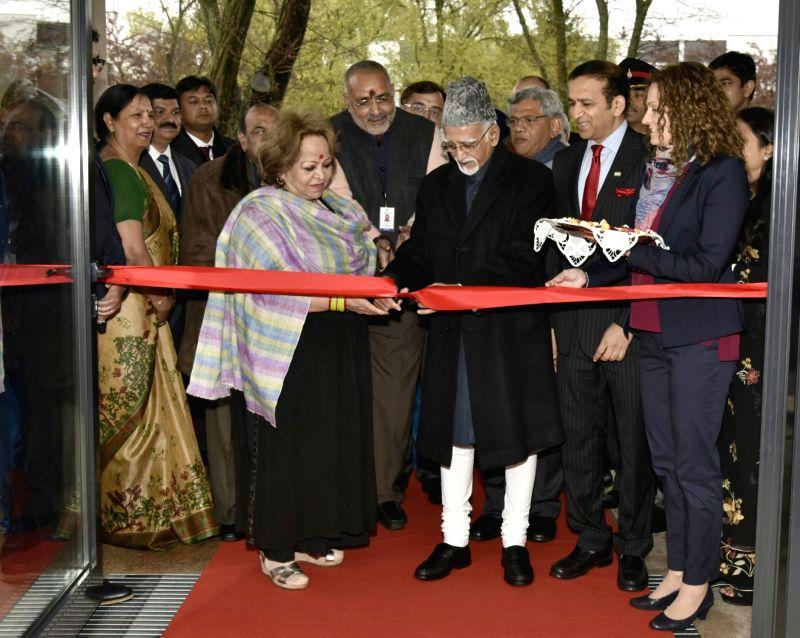Vice President M Hamid Ansari inaugurates the Embassy of India Complex, in Warsaw, Poland on April 28, 2017. Also seen Minister of State for Micro, Small & Medium Enterprises Giriraj ... - Enterprises Giriraj Singh