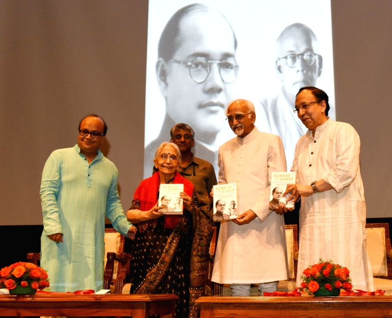 "Vice President M Hamid Ansari release the English Version of Dr. Sisir Kumar Bose's book ""Subhash and Sarat: An Intimate Memoir of Bose brothers"" in New Delhi on Aug 10, 2016. - Sisir Kumar Bose"