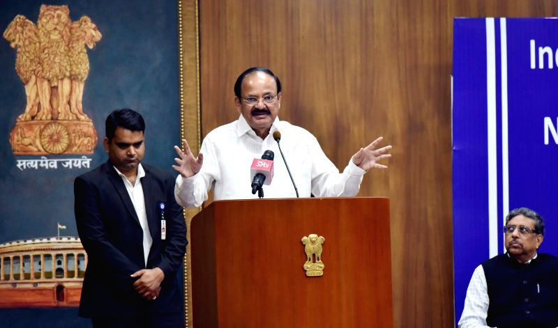 Vice President M. Venkaiah Naidu addresses after conferring the Nehru and Tagore Literacy Awards, instituted by the Indian Adult Education Association, in New Delhi on July 30, 2018. - M. Venkaiah Naidu