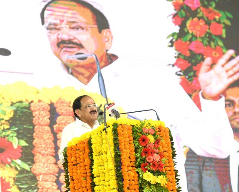 Vice President M. Venkaiah Naidu addresses after performing Bhoomi Poojan for the four-laning of NH-571, in Bhavnagar, Gujarat on August 12, 2018. - M. Venkaiah Naidu