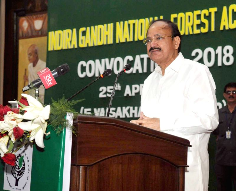 Vice President M Venkaiah Naidu addresses at the Convocation 2018 of Indira Gandhi National Forest Academy in Dehradun on April 25, 2018. - M Venkaiah Naidu