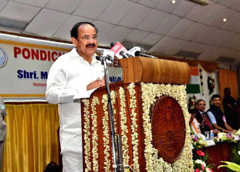 Vice President M. Venkaiah Naidu addresses at the Pondicherry University, in Puducherry on July 6, 2018. - M. Venkaiah Naidu
