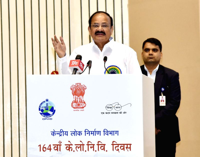 Vice President M. Venkaiah Naidu addresses at the 164th Central Public Works Department Day celebrations, in New Delhi on July 12, 2018. - M. Venkaiah Naidu