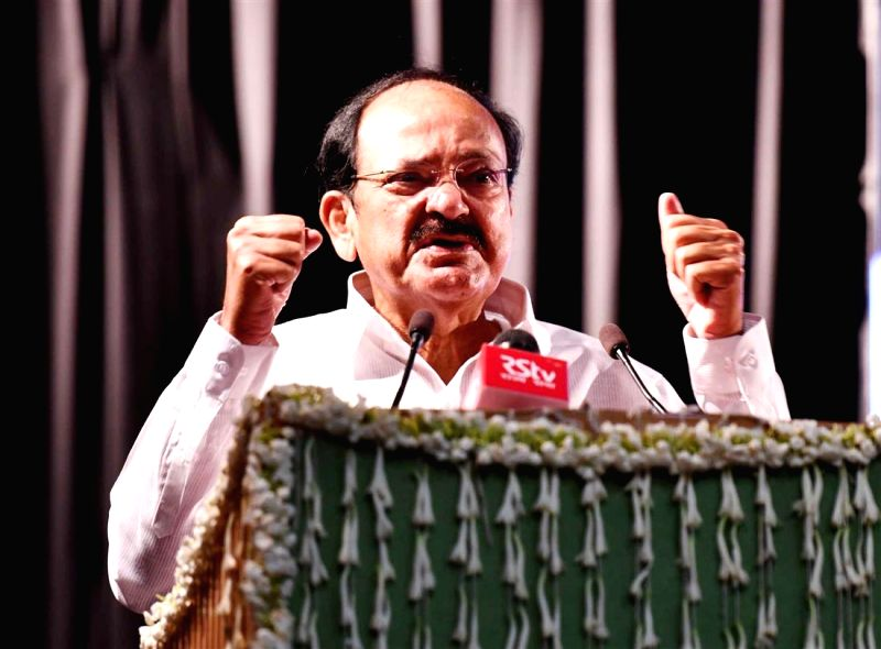 Vice President M. Venkaiah Naidu addresses at the Founder's Day celebrations of Andhra Education Society, in New Delhi on July 15, 2018. - M. Venkaiah Naidu