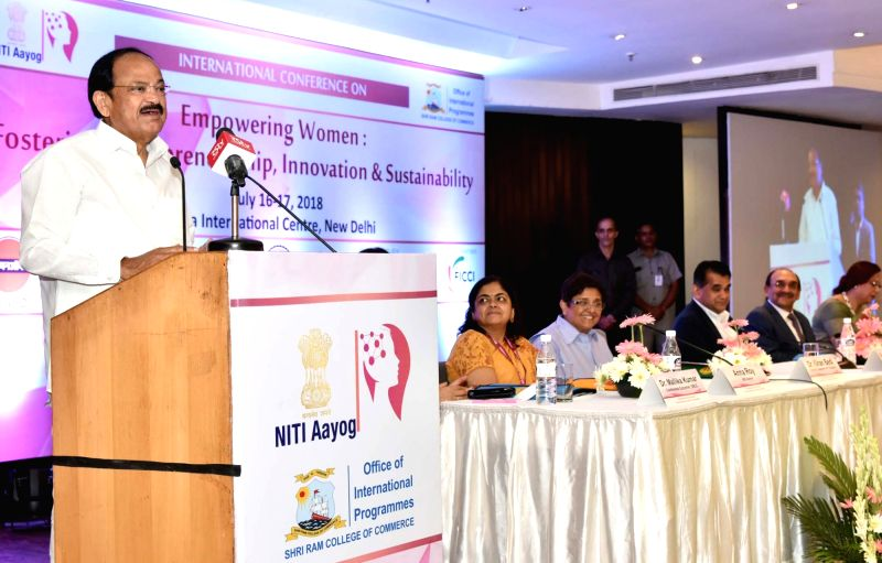 Vice President M. Venkaiah Naidu addresses at the International Conference on 'Empowering Women: Fostering Entrepreneurship, Innovation and Sustainability', jointly organised by the ... - M. Venkaiah Naidu and Kiran Bedi