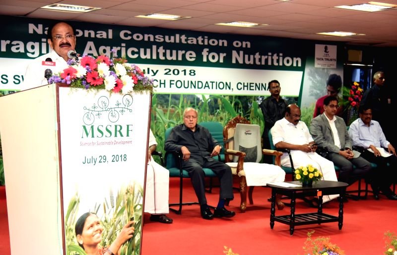 Vice President M. Venkaiah Naidu addresses the National Consultation on Leveraging Agriculture for Nutrition, in Chennai on July 29, 2018. - M. Venkaiah Naidu