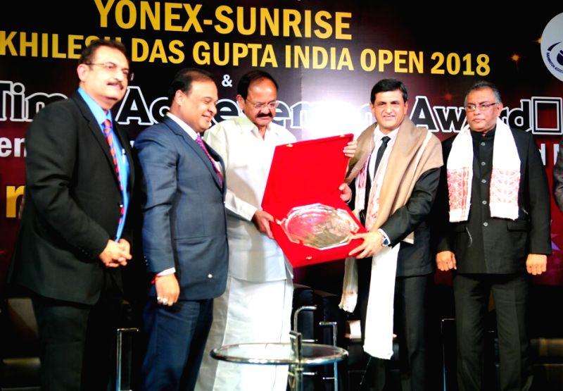 Vice President M Venkaiah Naidu confers the Life Time Achievement Award to legendary Badminton player Prakash Padukone, in New Delhi on Jan 29, 2018. - M Venkaiah Naidu and Prakash Padukone