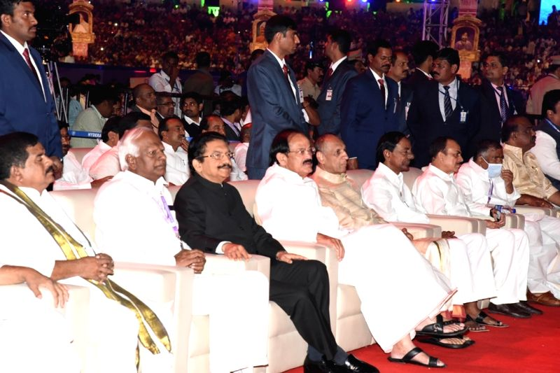 World Telugu Conference - inauguration - K Chandrasekhar Rao, M. Venkaiah Naidu and Chennamaneni Vidyasagar Rao