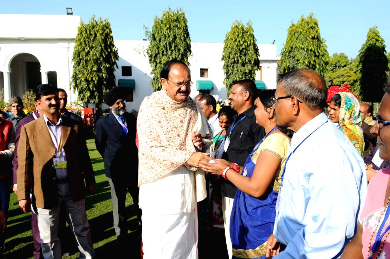 Vice President M. Venkaiah Naidu meets the Tribal Guests who participated in the Republic Day Parade - 2018, in New Delhi on Jan 28, 2018. - M. Venkaiah Naidu