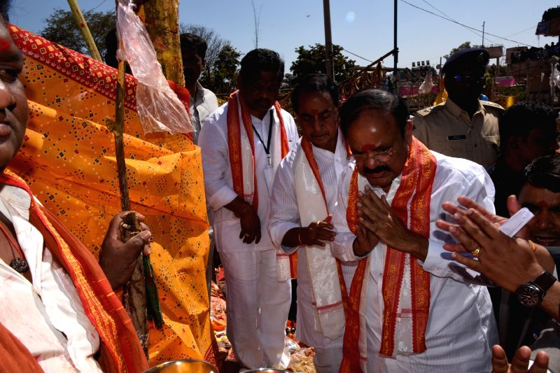 Vice President M Venkaiah Naidu offers prayers to the Saralamma deity at the Sammakka Saralamma festival in Medaram village, Telangana on Feb 2, 2018. - M Venkaiah Naidu
