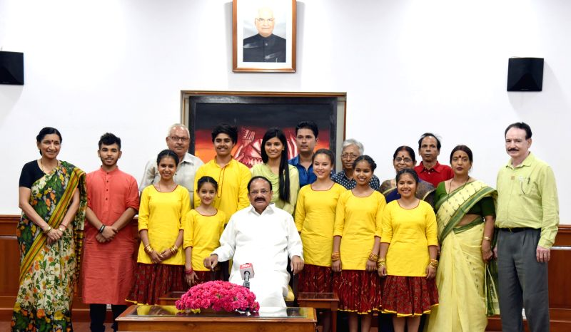 "Vice President M. Venkaiah Naidu with the students who represented India at ""The International Movement of Children and Their Friends"" at the Brave Kids International Festival held in ... - M. Venkaiah Naidu"