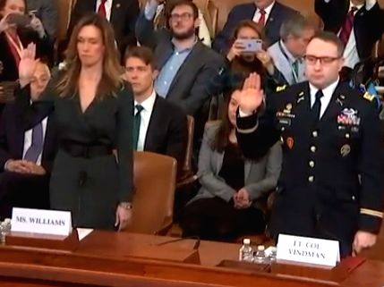 Vice President Mike Pence's staffer Jennifer Williams, left, and Lt Col Alexander Vindman, a Ukraine specialist on the National Security Council are sworn-in before testifying at the impeachment hearings against President Donald Trump. (Photo: House