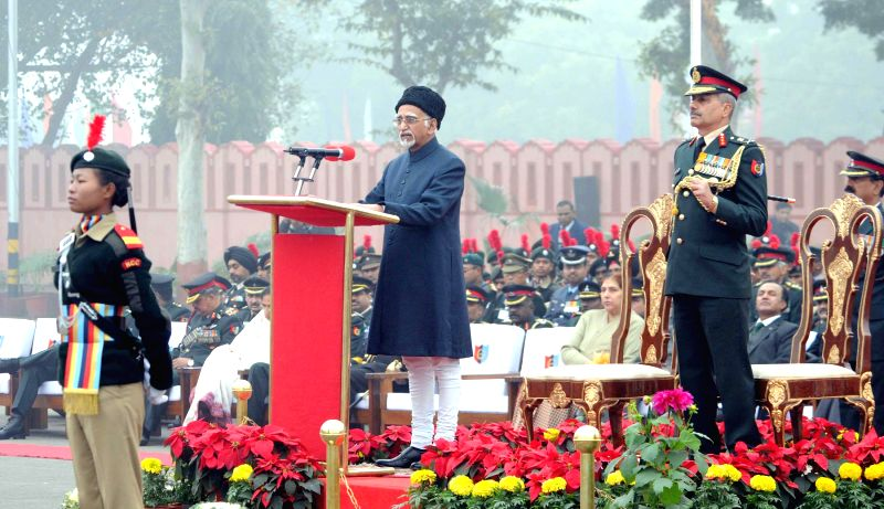 Vice-President Mohammad Hamid Ansari addresses at the inauguration of the NCC Republic Day Camp 2015, in New Delhi on Jan 8, 2015.