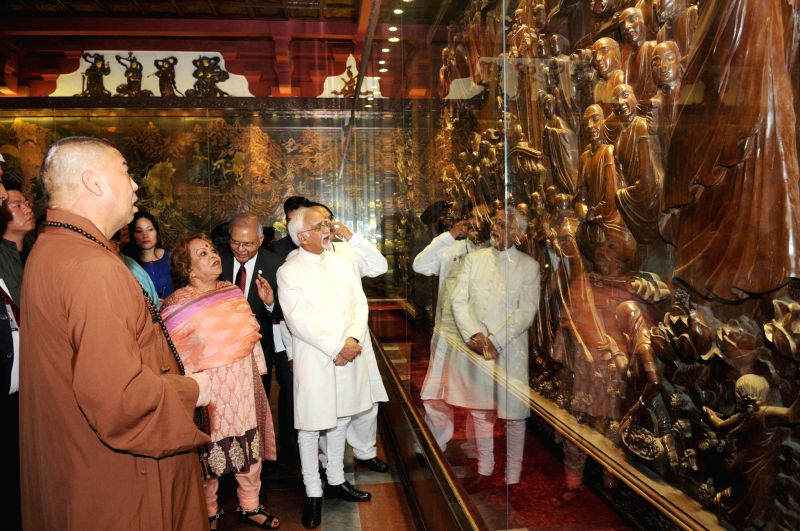 Vice-President Mohammad Hamid Ansari and his wife, Salma Ansari during their visit to Wild Goose Pagoda Temple at Xi'an in China on June 27, 2014.