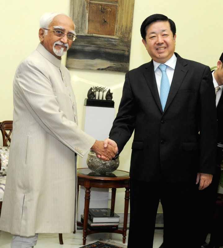 Vice-President Mohammad Hamid Ansari during a meeting with Chinese Ambassador to India Wei Wei in New Delhi on July 4, 2014.