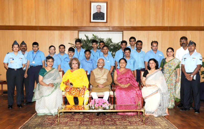 "Vice-President Mohammad Hamid Ansari with a delegation of differently abled children from ""Umeed"" in New Delhi on Sept 1, 2014."