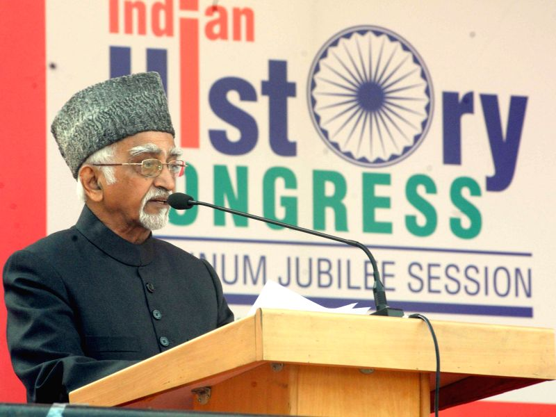 Vice President Mohd. Hamid Ansari addresses at the `Platinum Jubilee Session of the Indian History Congress`, organised by the Jawaharlal Nehru University, in New Delhi on Dec 28, 2014.