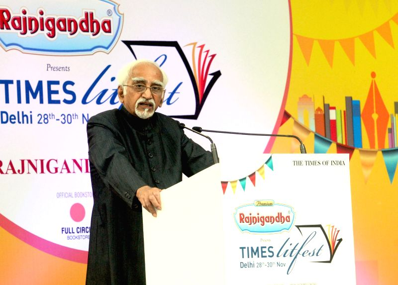 Vice President Mohd. Hamid Ansari addresses at the inauguration of Times Literature Festival, organised by the Times of India, in New Delhi on Nov 28, 2015.