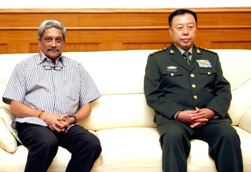Vice President of Central Military Commission of the People`s Republic of China, General Fan Changlong meets the Union Minister for Defence, Manohar Parrikar, in New Delhi on Nov. 16, ...
