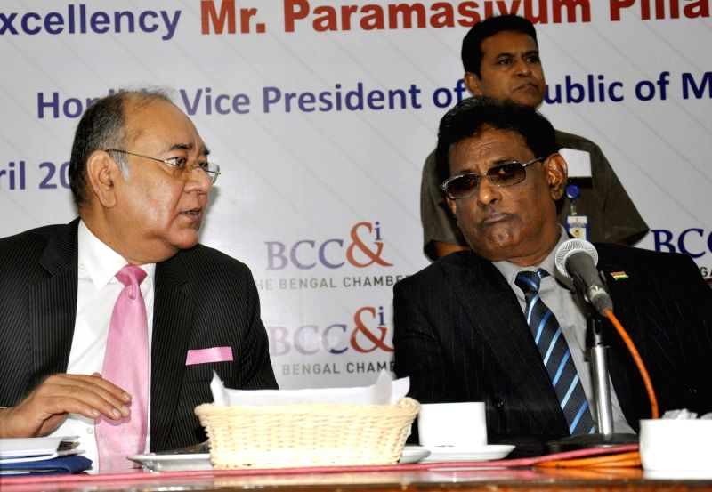 Vice President of Republic of Mauritius Paramasivum Pillay Vyapoory during an interactive session in Kolkata on April 17, 2017.