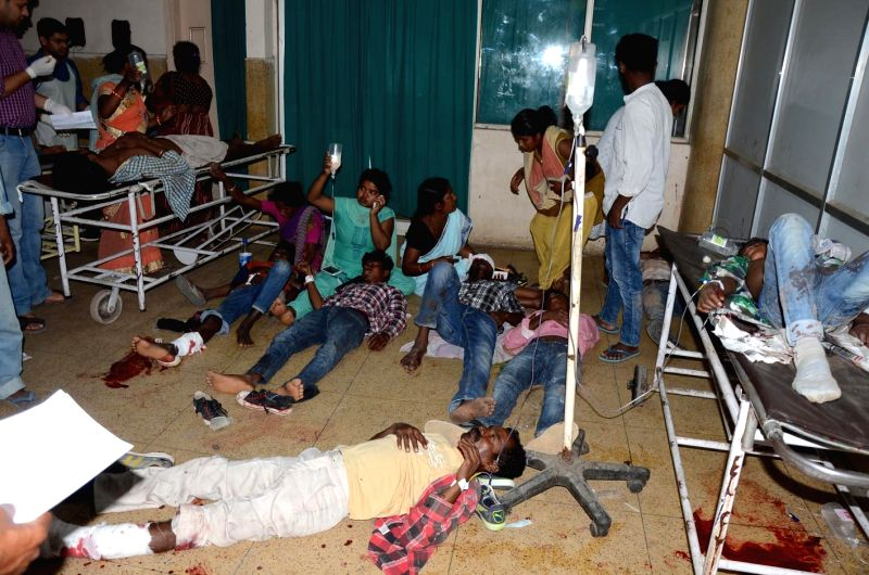 Victims of a bus accident being treated at Rajendra Institute of Medical Sciences (RIMS) in Ranchi on April 23, 2017. Reportedly seven passengers were killed and many others injured as the ...