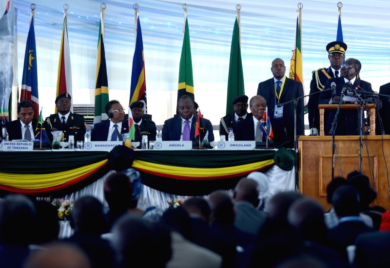 Zimbabwean President Robert Mugabe speaks during the 34th Summit of the Southern African Development Community (SADC) Heads of States and Government in ...