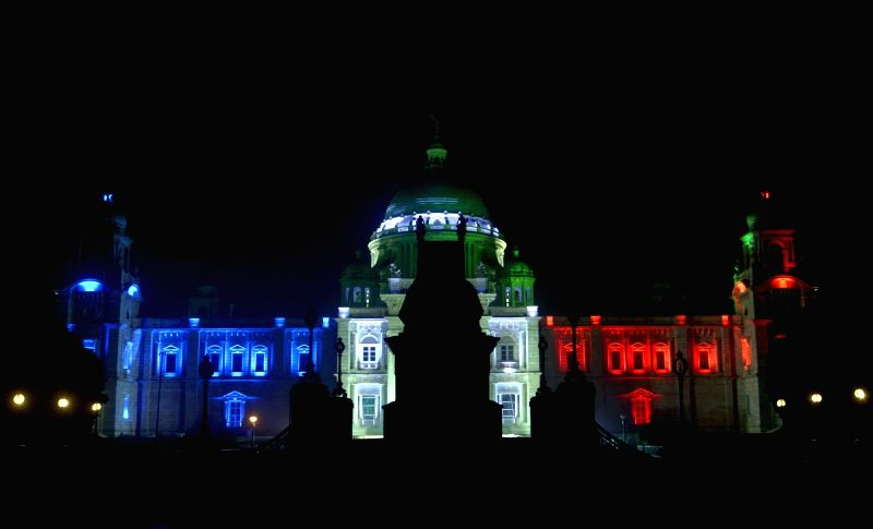 Victoria Memorial illuminated in the colours of the French flag to show solidarity with the victims of 13/11 Paris blasts in Kolkata, on Nov 20, 2015.