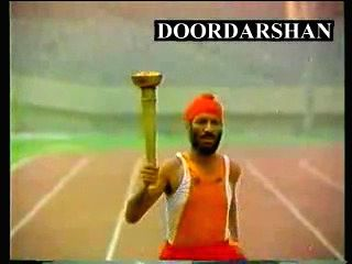 """Video grabs of iconic indian sportsman in 1980s national integration ad """"Torch of Freedom"""""""
