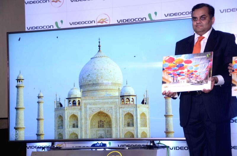 Videocon Director Anirudh Dhoot launches company's 4K Ultra High Definition LED TV in Mumbai on Aug 27, 2014.